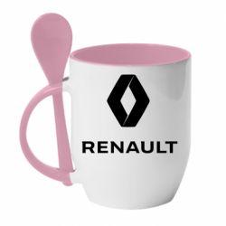 Кружка з керамічною ложкою Renault logotip
