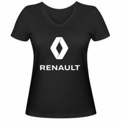 Жіноча футболка з V-подібним вирізом Renault logotip