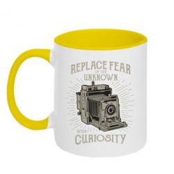 Кружка двоколірна 320ml Replace fear of the unknown with curiosity