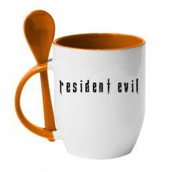 Кружка з керамічною ложкою Resident Evil