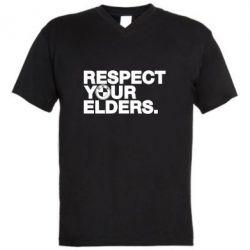 Мужская футболка  с V-образным вырезом Respect your elders.