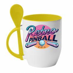 Кружка с керамической ложкой Retro pinball
