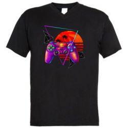Мужская футболка  с V-образным вырезом Retro wave