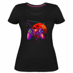 Женская стрейчевая футболка Retro wave