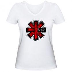 Женская футболка с V-образным вырезом RHCP sublim - FatLine