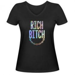 Жіноча футболка з V-подібним вирізом Rich Bitch