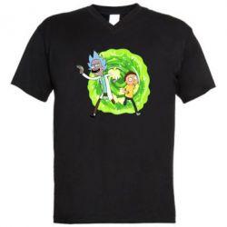Чоловіча футболка з V-подібним вирізом Rick and Morty art