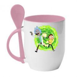 Кружка з керамічною ложкою Rick and Morty art