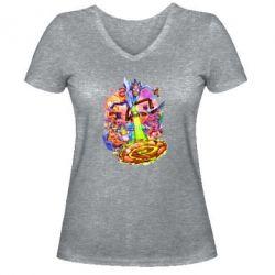 Женская футболка с V-образным вырезом Rick and Morty art