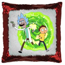 Подушка-хамелеон Rick and Morty art