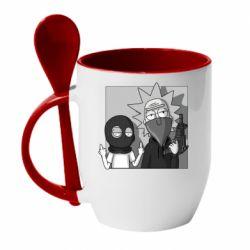 Кружка с керамической ложкой Rick and Morty Bandits