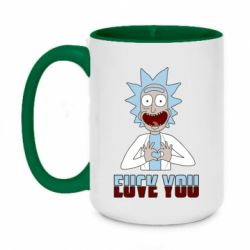 Кружка двоколірна 420ml Rick and Morty fack and love you