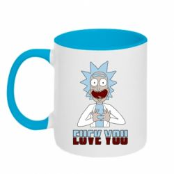 Кружка двоколірна 320ml Rick and Morty fack and love you