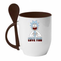 Кружка з керамічною ложкою Rick and Morty fack and love you