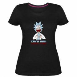Жіноча стрейчева футболка Rick and Morty fack and love you