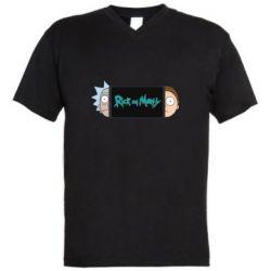 Мужская футболка  с V-образным вырезом Rick and Morty Game Console