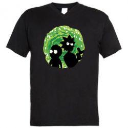 Чоловіча футболка з V-подібним вирізом Rick and morty on the background of the portal