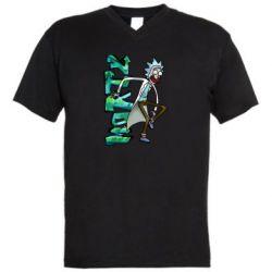 Чоловіча футболка з V-подібним вирізом Rick and text Morty