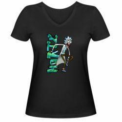 Жіноча футболка з V-подібним вирізом Rick and text Morty