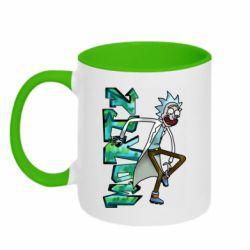 Кружка двоколірна 320ml Rick and text Morty