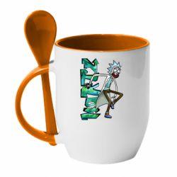 Кружка з керамічною ложкою Rick and text Morty