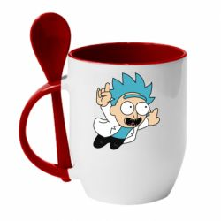 Кружка с керамической ложкой Rick is flying