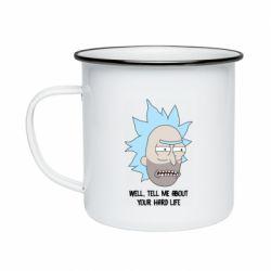 Кружка эмалированная Rick live