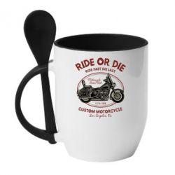 Кружка з керамічною ложкою Ride Or Die