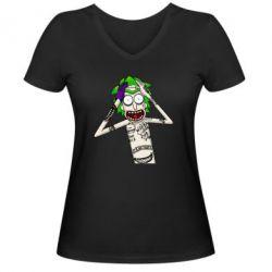 Жіноча футболка з V-подібним вирізом Рік і Морті образ Джокера