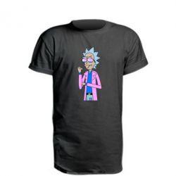 Подовжена футболка Рік і Морті рожевий плащ