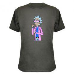 Камуфляжна футболка Рік і Морті рожевий плащ