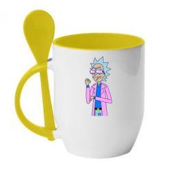 Кружка з керамічною ложкою Рік і Морті рожевий плащ