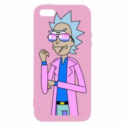 Чохол для iphone 5/5S/SE Рік і Морті рожевий плащ