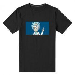 Мужская стрейчевая футболка Рик показывает средний, палец