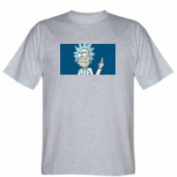 Мужская футболка Рик показывает средний, палец