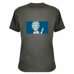 Камуфляжная футболка Рик показывает средний, палец