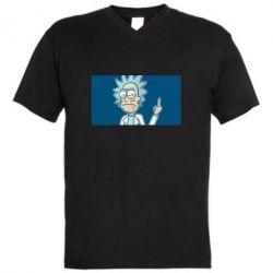 Мужская футболка  с V-образным вырезом Рик показывает средний, палец