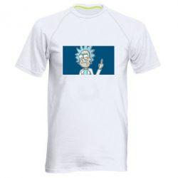 Мужская спортивная футболка Рик показывает средний, палец
