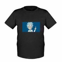 Детская футболка Рик показывает средний, палец