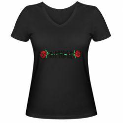 Женская футболка с V-образным вырезом RipnDip rose