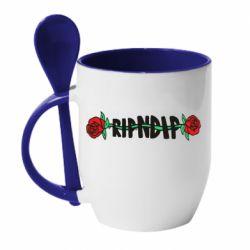 Кружка с керамической ложкой RipnDip rose