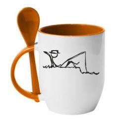 Купить Кружка с керамической ложкой Рисунок Рыбалка, FatLine