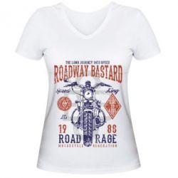Жіноча футболка з V-подібним вирізом Roadway Bastard