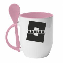 Кружка с керамической ложкой Roblox game