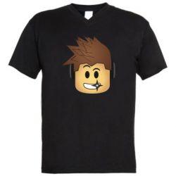 Мужская футболка  с V-образным вырезом Roblox head