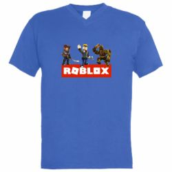 Мужская футболка  с V-образным вырезом Roblox Heroes
