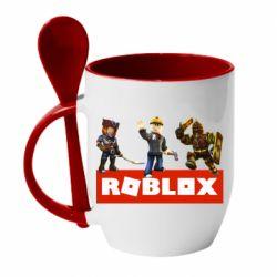 Кружка с керамической ложкой Roblox Heroes