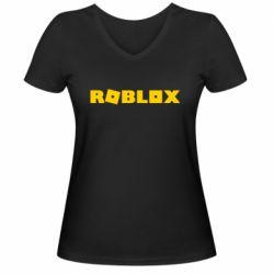 Женская футболка с V-образным вырезом Roblox inscription