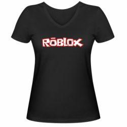 Женская футболка с V-образным вырезом Roblox logo