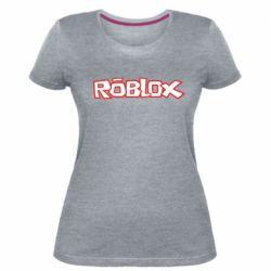Женская стрейчевая футболка Roblox logo